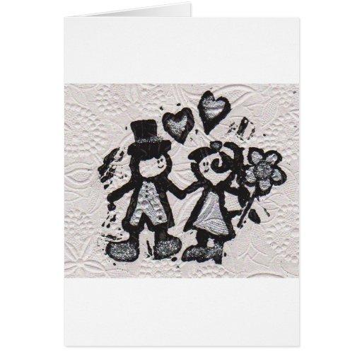 Novia y novio 3 tarjeta de felicitación
