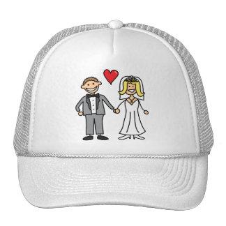 Novia y novio (añada su propio texto) gorra