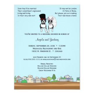 """Novia y novio Boston Terrier que casa la ducha Invitación 4.25"""" X 5.5"""""""