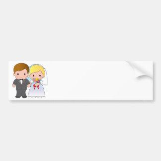 Novia y novio pegatina de parachoque