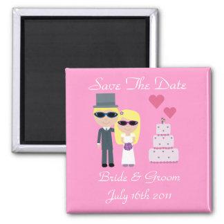 Novia y novio con el boda del verano de las gafas  imanes de nevera
