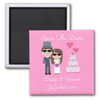 Novia y novio con el boda del verano de las gafas  iman para frigorífico