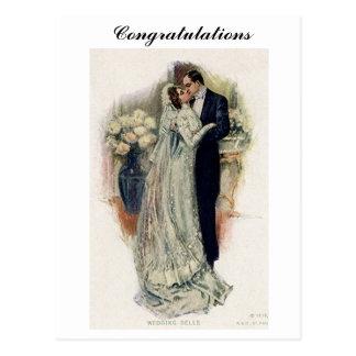 Novia y novio de Belces de boda del vintage Postales