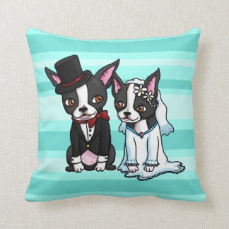 Novia y novio de Boston Terrier Cojines