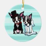 Novia y novio de Boston Terrier Ornamente De Reyes