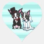 Novia y novio de Boston Terrier Pegatina En Forma De Corazón