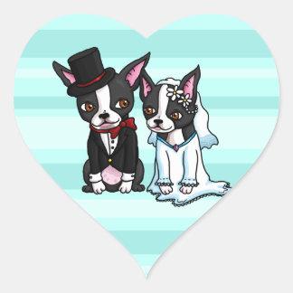 Novia y novio de Boston Terrier Calcomanía Corazón Personalizadas