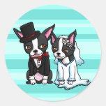 Novia y novio de Boston Terrier Pegatina Redonda