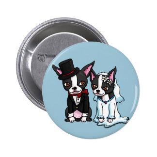Novia y novio de Boston Terrier Pin Redondo De 2 Pulgadas