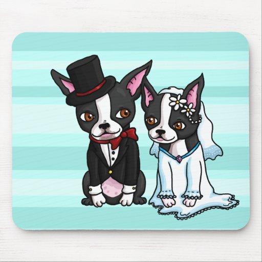 Novia y novio de Boston Terrier Tapetes De Ratón