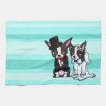 Novia y novio de Boston Terrier Toalla De Mano