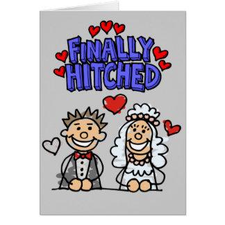 Novia y novio de la gente del palillo finalmente tarjeta de felicitación