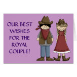 Novia y novio de los derechos del rodeo tarjeta de felicitación