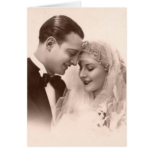 Novia y novio del boda del vintage tarjeta de felicitación