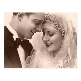 Novia y novio del boda del vintage tarjetas postales