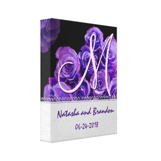 Novia y novio del monograma con los rosas púrpuras impresiones de lienzo