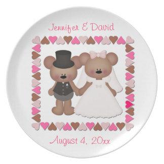 Novia y novio del oso platos para fiestas