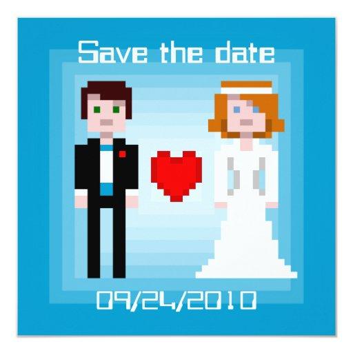"""Novia y novio del pixel - ahorre la fecha - azul invitación 5.25"""" x 5.25"""""""