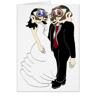 Novia y novio del tejón tarjeta de felicitación