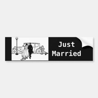 novia y novio del vintage de los años 20 pegatina de parachoque
