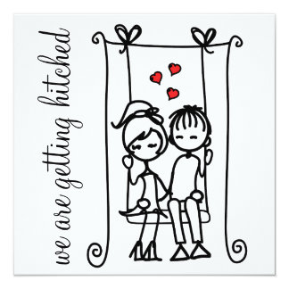 """Novia y novio en Doodles del oscilación que casan Invitación 5.25"""" X 5.25"""""""