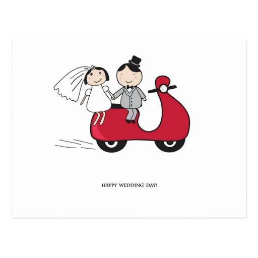 Novia y novio en la vespa roja. Invitación de boda Postal
