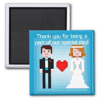 Novia y novio - imán del pixel del favor - azul