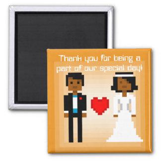 Novia y novio - imán del pixel del favor - naranja