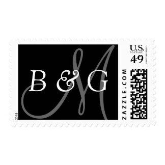 Novia y novio inicial Negro Monogams gris blanco Stamps