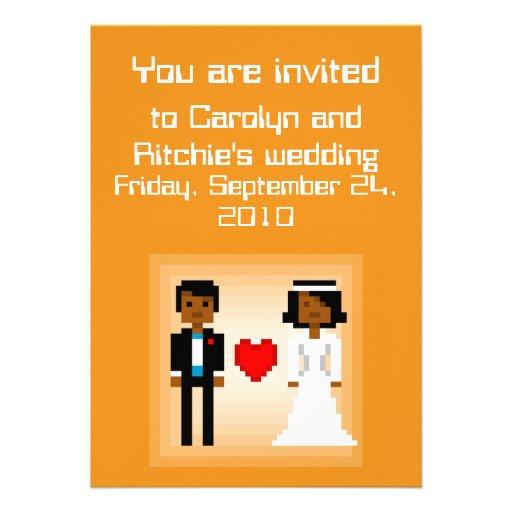 Novia y novio - invitación del pixel del boda - Or