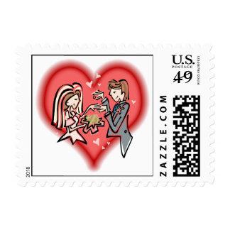 Novia y novio lesbianos sello postal