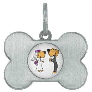 Novia y novio lindos del labrador retriever placa de mascota