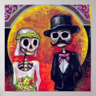 Novia y novio Mustachioed Póster