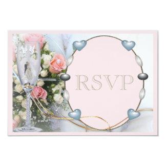 Novia y novio, palomas y RSVP floral de cristal Invitación 8,9 X 12,7 Cm