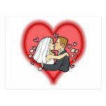 novia y novio postal