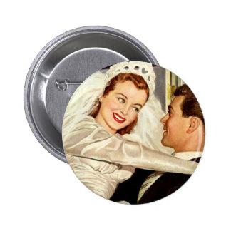Novia y novio, recienes casados felices del boda pin redondo 5 cm