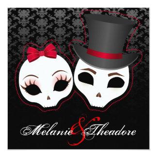 """Novia y novio Skullies (rojo) Invitación 5.25"""" X 5.25"""""""