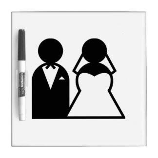 Novia y novio tablero blanco
