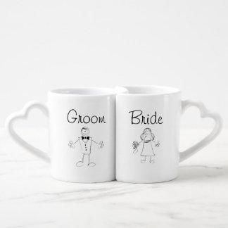 Novia y novio tazas para enamorados