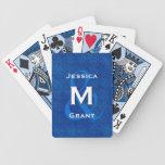 Novia y novio V322 azul del boda del monograma Baraja Cartas De Poker