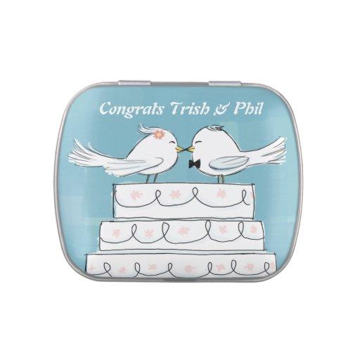Novia y novio White Birds en el pastel de bodas Frascos De Caramelos