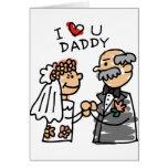 Novia y padre el día de boda antes de la ceremonia tarjeta de felicitación