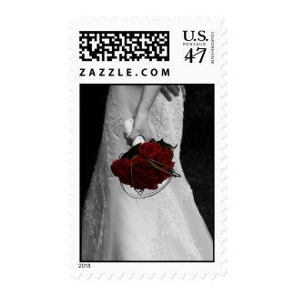 Novia y rosas rojos estampillas