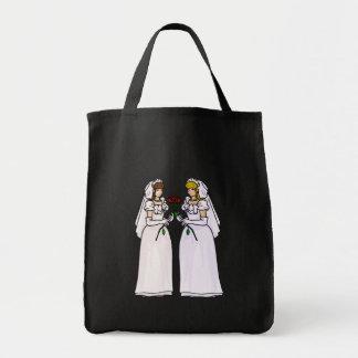 Novias con los rosas bolsa tela para la compra