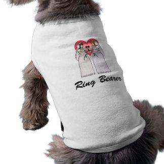 Novias con los rosas en amor camisetas de perrito