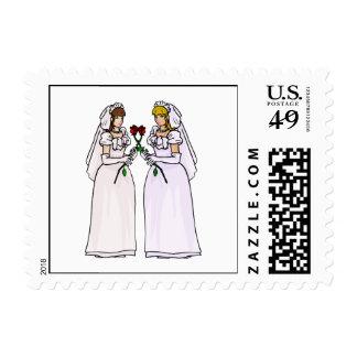 Novias con los rosas sellos postales