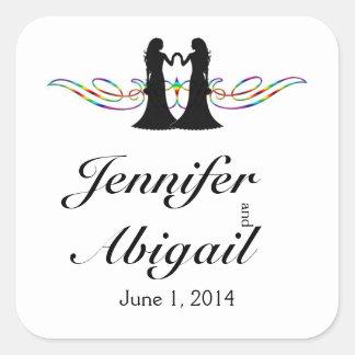 Novias de la elegancia del arco iris que casan el pegatina cuadrada