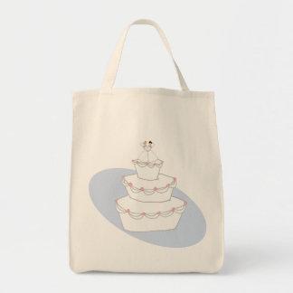 Novias del pastel de bodas dos bolsa tela para la compra