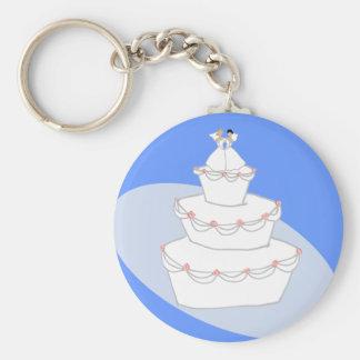 Novias del pastel de bodas dos llavero redondo tipo pin
