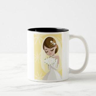 Novias hermosas tazas de café